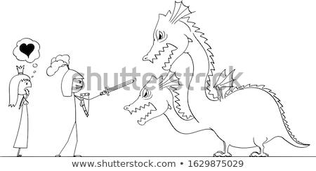 Knight · дракон · сохранить · Принцесса · Cartoon - Сток-фото © bluering