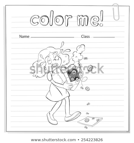 A worksheet with a girl carrying a broken heart Stock photo © bluering