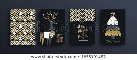 christmas illustration with gold deer stock photo © -baks-