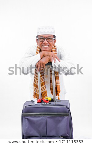 Foto stock: Árabe · homem · mala · viajar · isolado · branco