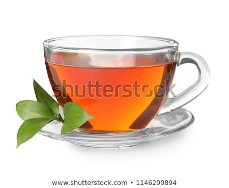 Tasse thé blanche café feuille Photo stock © bluering
