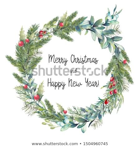 Geleneksel renkli Noel çelenk asılı üzerinde Stok fotoğraf © ozgur