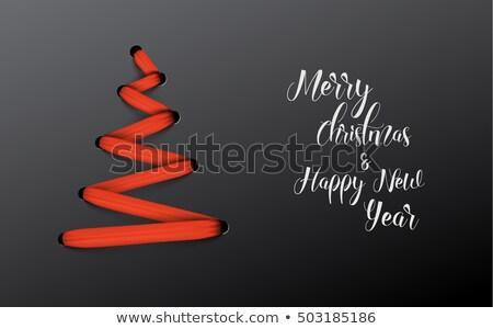 ストックフォト: クリスマスツリー · 赤 · レース · 単純な · ベクトル · 緑