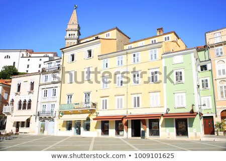Tower and colorful facades in Piran, Slovenia Stock photo © stevanovicigor