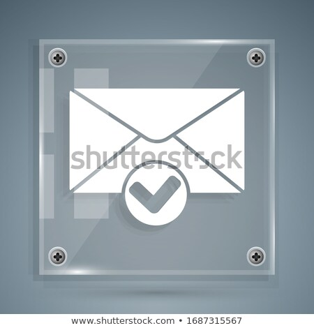Potwierdzenie list ikona szary przycisk projektu Zdjęcia stock © WaD