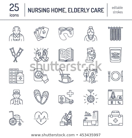Modern vector line icon of senior and elderly care. Nursing home elements - old people, wheelchair,  Stock photo © Nadiinko