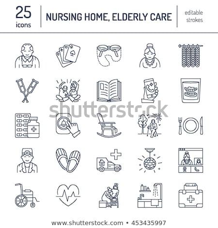 Modern vector line icon of senior and elderly care. Nursing home elements - old people, wheelchair,  Stock photo © Nadiinko