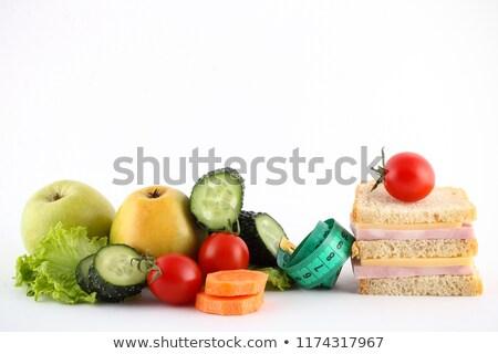 Rauw voedsel dieet tekst gras reflectie geïsoleerd Stockfoto © Tefi