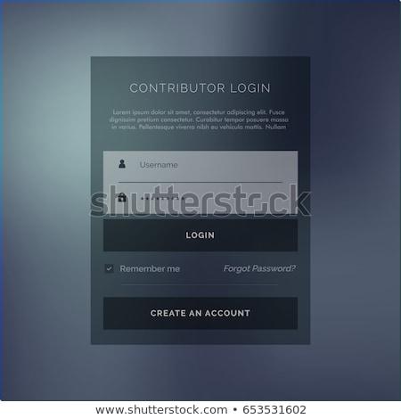 Donkere lid inloggen vorm vector ontwerpsjabloon Stockfoto © SArts