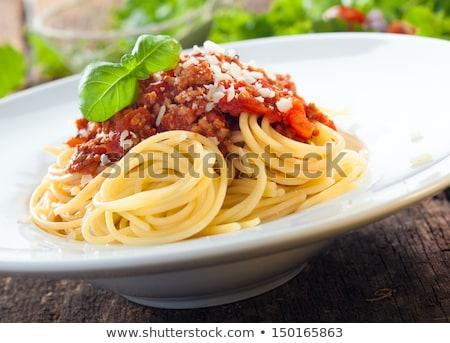 Spaghettis sauce tomate fromage râpé fromages dîner pâtes Photo stock © Digifoodstock