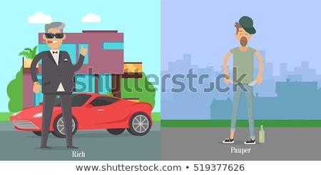 rico · pobre · lacuna · homens · financiar · desenho - foto stock © robuart