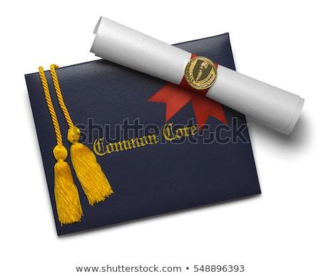 Diploma tekercs vörös szalag tekert pergamen papír Stock fotó © frannyanne
