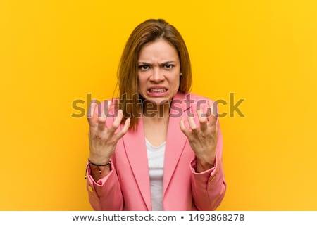 Furioso mulher de negócios gritando indicação dedo direito Foto stock © RAStudio