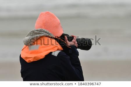 nő · fehér · viharos · tenger · egészalakos · hátsó · nézet - stock fotó © dariazu