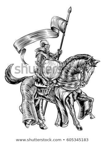 Medieval Knight on Horse Vintage Woodblock Engraving Stock photo © Krisdog