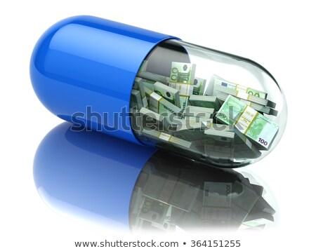 gyógyszer · üvegek · pénz · boglya · húsz · dollár · bankjegyek - stock fotó © deandrobot