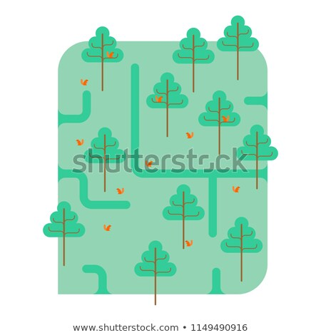 forest map park ornament trees and squirrels square landscap stock photo © maryvalery