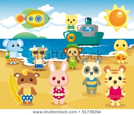 rajzolt · állatok · elefánt · macska · játszik · tengerpart · boldog - stock fotó © aminmario11