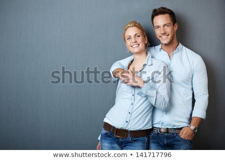 красивый · ню · пару · позируют · улыбка · вечеринка - Сток-фото © neonshot