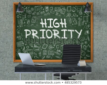 high priority on chalkboard with doodle icons 3d stock photo © tashatuvango
