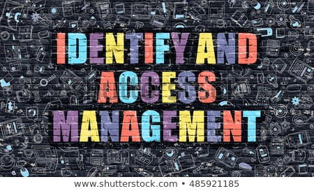 Stock photo: Identify and Access Management on Dark Brick Wall.