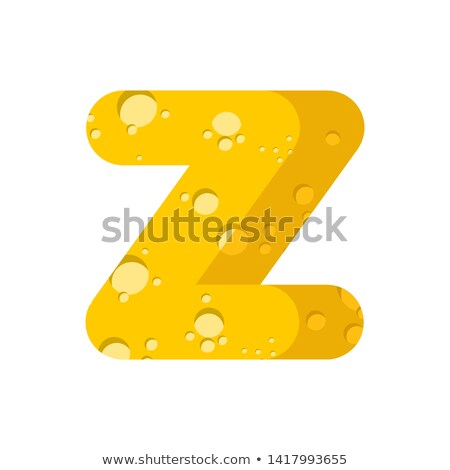 Letter Z cheese font. Symbol of cheesy alphabet. Dairy Food type Stock photo © popaukropa