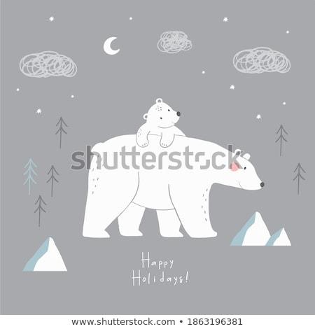 Tarjeta de felicitación oso polar día noche vacaciones internacional Foto stock © Olena