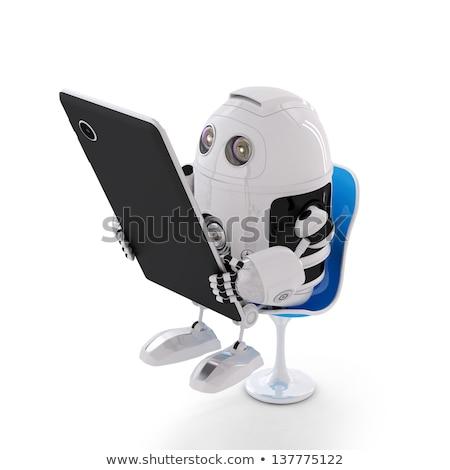 avenir · homme · écran · tactile · entreprise · style · futuriste - photo stock © studiostoks