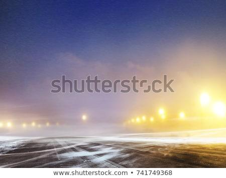 Inverno strada aeroporto notte neve coperto Foto d'archivio © ssuaphoto