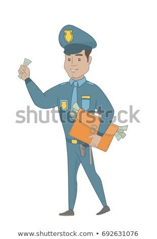 Hispanic policeman with briefcase full of money. Stock photo © RAStudio