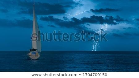Stok fotoğraf: Yelkencilik · tekne · fırtınalı · deniz · ufuk · karanlık