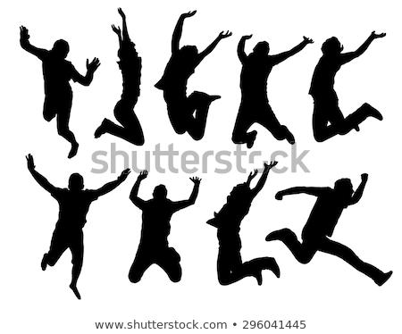 silhueta · saltar · menina · água · mulher · dançar - foto stock © zurijeta