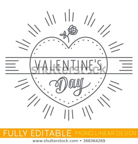 Valentin nap vékony vonal szív szalag ikonok Stock fotó © Genestro