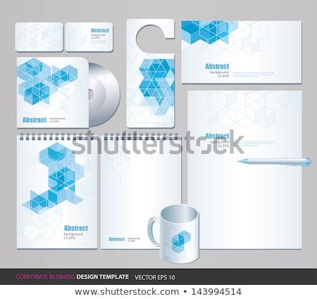 Blauw · mozaiek · abstract · ontwerp · print - stockfoto © sarts