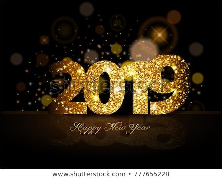 Stock fotó: Vektor · boldog · új · évet · illusztráció · fényes · világítás · kék