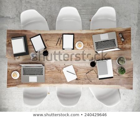 Márka terv laptop konferenciaterem 3d illusztráció közelkép Stock fotó © tashatuvango