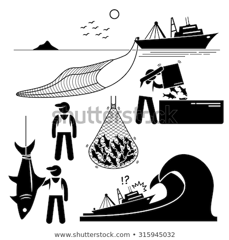 fisherman on boat, fish in netting Stock photo © IS2