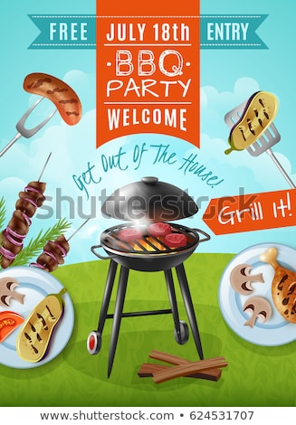 Barbecue food poster with meat skewers on grill Stock photo © studioworkstock