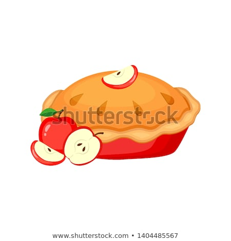 Apple pie and Apples - vector cartoon illustration stock photo © Natali_Brill