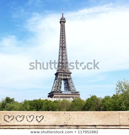 Eyfel · Kulesi · kalp · şekli · bulutlar · sevmek · Paris · valentine - stok fotoğraf © artfotodima