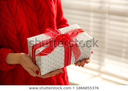 Woman holding a christmas present Stock photo © IS2