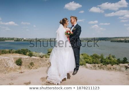 casamento · retrato · recém-casados · roxo · flores · cara - foto stock © is2