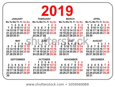 2019 compact grid pocket calendar first day Monday Stock photo © orensila