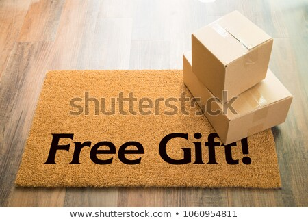 Surprise Welcome Mat On Wood Floor With Shipment of Boxes Stock photo © feverpitch
