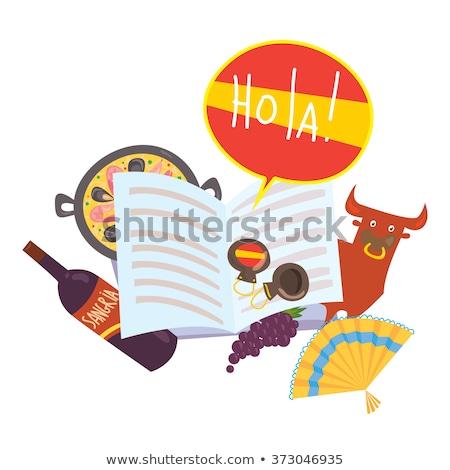 Foto stock: Espanhol · linguagem · aprendizagem · bolha · bandeira · bandeira