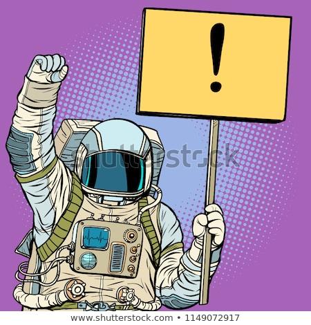 Astronot poster pop art Retro bağbozumu Stok fotoğraf © studiostoks