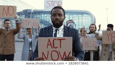 el · protesto · tahta · işadamı · ilan · panosu - stok fotoğraf © studiostoks