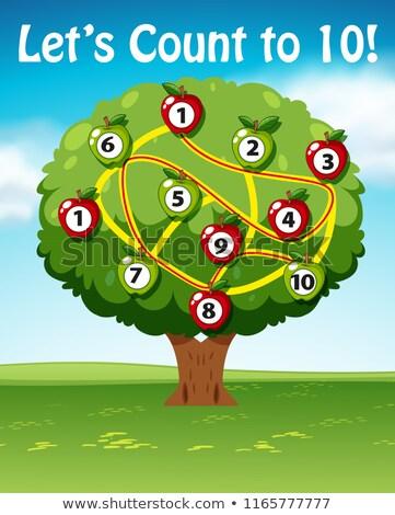 Dez árvore ilustração comida maçã estudante Foto stock © bluering