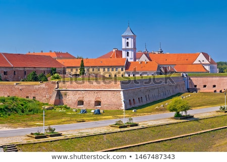 drava river walkway in osijek and tvrdja walls view stock photo © xbrchx