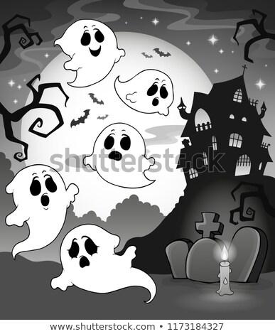 Szellemek kisértetjárta ház fény hold fekete Stock fotó © clairev